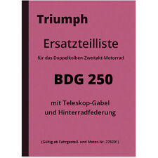 Triumph BDG 250 Ersatzteilliste Ersatzteilkatalog BDG250 H BDG-250 Parts Catalog