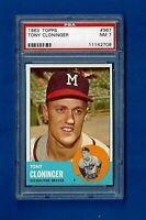 1963 TOPPS BASEBALL #367 TONY CLONINGER PSA 7 NM MILWAUKEE BRAVES