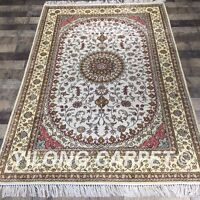 YILONG 4'x6' Handknotted Silk Carpet Oriental White Antistatic Area Rug Y410C