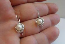 925 STERLING SILVER LADIES ROUND PEARL HOOK EARRINGS W/ 6MM PEARLS/STUNNING!!!