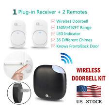 1Byone 150M LED 36 Chimes Wireless Doorbell Remote Plug-in Receiver Waterproof