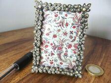 """Very pretty multi tear drop jewels & metal miniature photo frame. 3.25 x 2.25"""""""