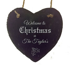 Personalised Slate Hanging Heart Christmas Family Xmas Present Home