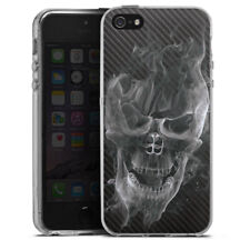 Apple iPhone 5 Silikon Hülle Case - Smoke Skull Carbon