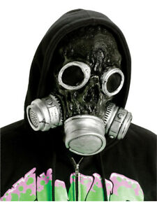 Adult Silver And Black Zombie Gas Mask Gasmask Halloween Costume Accessory