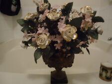Vintage 80's white with gold trim Rose Flower Vase Vase  Centerpiece