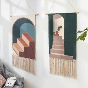 Hand Woven Macrame Wall Art Hanging Tapestry Retro Mid Century Bohemian Backdrop
