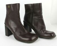 TOMMY HILFIGER Reddish Brown Leather Square-Toe Ankle Boots Heels 11M