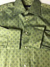 Kuhlman Men Shirt Green French Cuff Long Sleeve Button Front Cotton Size 43 XL