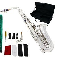 Professional Silver Saxophone Sax Eb Be Alto E Flat Brass Carved + Carrying case