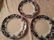 """3 x Antique c1900 """"PERSIAN"""" Flow Blue & White  Plates Hollinshead & Kirkham"""
