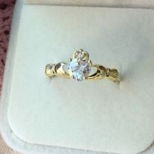 Antique Vintage Gold Claddagh Love Ring size 10 or U White Sapphire Heart Stone