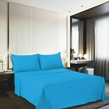 Handmade Solid Uni Microfibre Bed Sheets Flat Sheet With Cushion Cover Sky-Blue