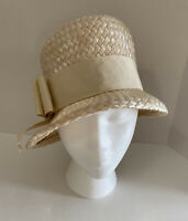 Vintage Hat Cloche Bucket Woven Straw With Ribbon Biege Natural Fancy Church