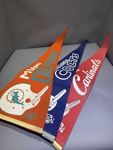 (3) Vtg 1967 NFL Full Size Single Bar Football Pennants:Colts/Dolphins/Cardinals