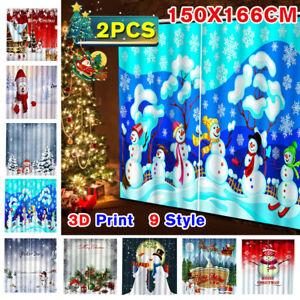 2Pcs 3D Print Christmas Snowman Themed Window Curtains Drapery Screen