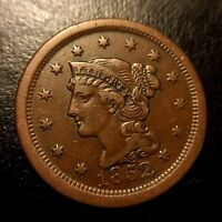 1852 Braided Hair Large Cent AU About Uncirculated One Penny Mature Head Variety