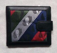 Wallet Vintage Leather BLACK BI-FOLD CARDS NOTES 1980s 1990s PATTERNED