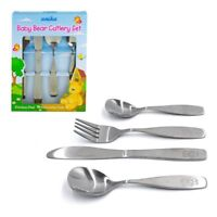 First Step 4 Pcs Kids S/Steel Cutlery Set Children Toddler Baby Spoon Fork Knife