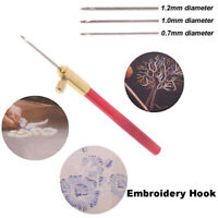 Embroidery Tambour Crochet Hooks Knitting Tool with 3 Needles French Croc Bw