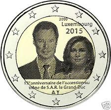 manueduc   2  EUROS  LUXEMBURGO 2015  15  ANIVERSARIO Subida al Trono  Duque UNC