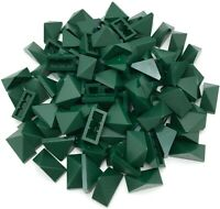 Lego 100 New Dark Green Slope 45 2 x 1 Triple with Bottom Stud Holder Pieces