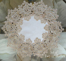 "Rose Lace SET OF TWO 12"" Doilies Soft Gold / Beige White Doily"