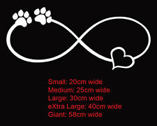 I Love Paws Forever Infinity Symbol Dog Cat Car Boat Sticker Decal