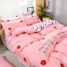 4pcs/set Bedding Set  Love Strawberry Pink Pattern Bed Linings Duvet Cover Bed