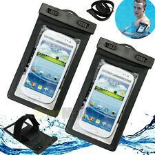 2X Waterproof Underwater Pouch Dry Bag Case Cover W/ Armband For 6'' Cell Phone