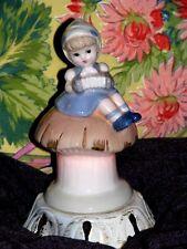 Vtg. Nursery Nightlight Ceramic Lamp - Girl Playing Accordion on  Mushroom