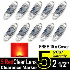 10X Clear Red Truck Trailer Side Marker Clearance Light Oval Chrome 3 LED 12V