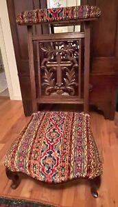 Antique French Cross Prayer Chair Prie Dieu Kneeler