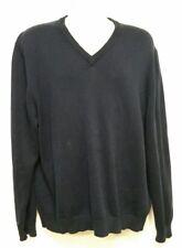 Brooks Brothers Navy Blue V-Neck Sweater - Pima Cotton - XL