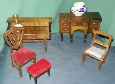 Vtg 13 pc DOLL HOUSE Wooden FURNITURE Desks WASH BASIN PITCHER Gas Lamp CHAIRS