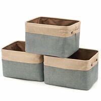 Collapsible Large Storage Bins Basket [3-Pack] EZOWare Canvas Fabric Tweed