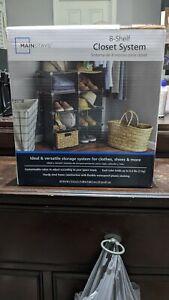NIB Mainstays 8 Shelf Closet System