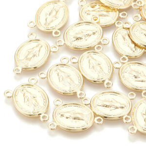 10pcs Brass Oval Rosary Chandelier Connectors Virgin Mary Gold Plated Links 17mm