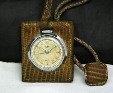 1940s LIEMA Salesman Leather PURSE POCKET WATCH 15J SWISS Exhibition Back RARE