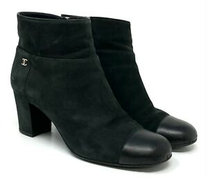 Authentic CHANEL Coco Mark Cc Bootie Short Boots #36.5 US 6.5 Black Suede
