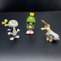 "3 Vtg 1994 Looney Tunes PVC Figures Applause 2.5"" Marvin Wile E Coyote Sylvester"
