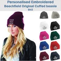Personalised Embroidered Beanie Custom Your Text/Name Beechfield Cuffed Cap B45