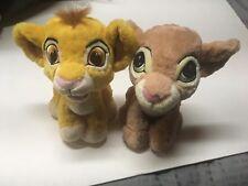 "Disney Theme Parks Lion King Plush Set Baby Nala and Simba Cub Stuffed Animal 8"""