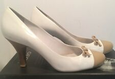 Geox White Patent Leather Pumps w/ Tan Cap Toe & Wooden heel and Bow Sz 9 1/2
