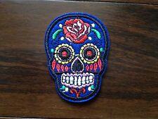 Patch skull tete de mort mexican sugar cavalera custom bleu thermocollant 7x5