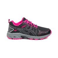 Asics Gel-Venture 7 Girls Waterproof Trail Running Trainer Shoe Black/Grey/Pink