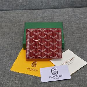 Goyard Bifold Leather Wallet red Men's