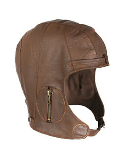 BROWN Rothco Leather Aviator Pilot Motorcycle Cap Vintage WWII Style Hat XL/2XL