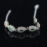 925 Sterling Silver Handmade Gemstone Turkish Emerald Ladies Bracelet