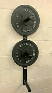 """Olympic Weight Plate Holder wall mounted 2"""" centre hole 3 poles very heavy duty"""